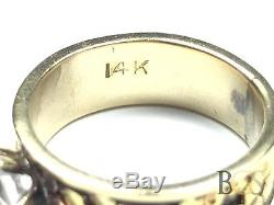 Awesome Ladies 14K Yellow Gold Natural Gold Nuggets Ring Size 4.5 MUST SEE