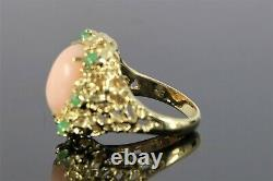 CG Vintage Estate 18K Yellow Gold Oval Pink Coral Cabochon Emerald Nugget Ring 7