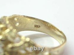 Circular Nugget Cluster Diamond Solid Yellow Gold Ring 14Kt 1.00Ct G-VS2 7-Stone
