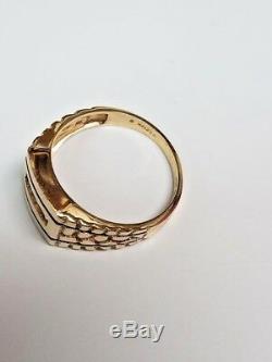 Classy! Designer. 20ctw Natural Diamond 14k Y Gold Nugget Man's Ring