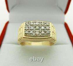 Classy Nugget Sides Men's Ring with Natural Diamonds in 14k Gold size 9.5