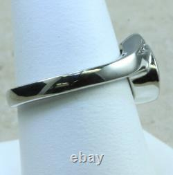 Designer Ladies Diamond Ring Natural Nugget / 14K White Gold Size 8 1/2 Near 3/4
