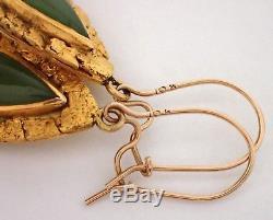 ESTATE Vtg 10k Yellow Gold & Natural Gold Nugget Jade Teardrop Dangle Earrings