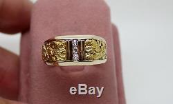Elegant Solid 14k Yellow Gold Mens Natural Alaskan Gold Nugget & Diamond Ring