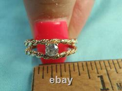 Estate 10K Yellow Gold Nugget Ladies. 19Ct Tw Diamond Solitaire Ring Size 5 1/4
