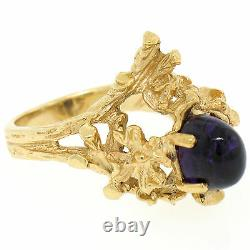 Estate 14K Yellow Gold 1.98ct Cabochon Amethyst Coral Reef Nugget Cocktail Ring