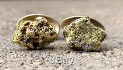 Estate Natural 24k Alaskan & 14k Yellow Gold Nugget Men's Cufflinks 12.3 Grams