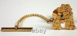 FINE Estate Alaska Natural 22k Gold Nugget Letter A Initial Lapel Pin Tie Tack