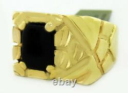 GENUINE BLACK ONYX NUGGET MEN'S RING 14K GOLD FREE SHIPPING NWT Size 10.25
