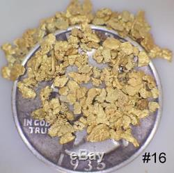 GOLD NUGGETS 2 GRAMS Placer Alaska Natural #16 Screen Jeweler's Grade FREE Ship