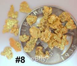 GOLD NUGGETS 3+ GRAMS Natural Placer Alaskan Natural #8 Deadwood Creek Hi Purity