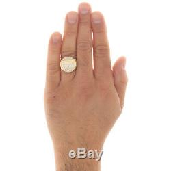 Genuine 10K Yellow Gold Last Supper Statement Pinky Ring Nugget Shank 20mm Band