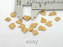 Genuine Alaska Yukon BC gold nuggets bullion placer 2.5 dwt 3.8gram +4 CC 18 pc