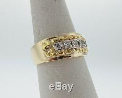 Genuine Diamonds Solid 14k Yellow Gold with 24k Nuggets Ring 9mm Wide Band