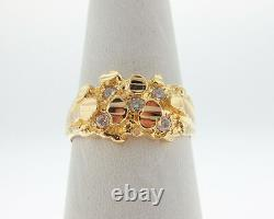 Genuine Diamonds Solid 18k Yellow Gold Nuggets Ring FREE Sizing
