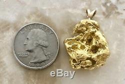 Genuine Large Natural Alaskan Placer Gold River Nugget Pendant 19.7 grams
