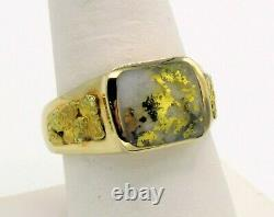 Genuine Natural Gold in Quartz Men's 10K Gold Ring with Natural Nuggets RM165Q