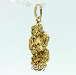 Genuine natural gold nugget 92.5% pure raw specimen pendant 28.8 grams 14K bail