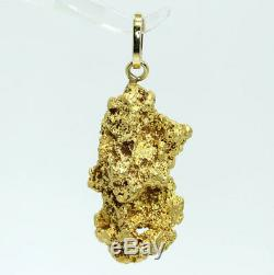 Genuine natural gold nugget 92.5% pure raw specimen pendant 28.8 grams 14K bail