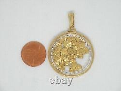 Genuine natural gold nuggets in 14k yellow gold Large Pendant Faceted Lens New