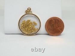Genuine natural gold nuggets in 14k yellow gold medium Pendant loop top New