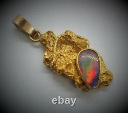 Gold Nugget Pendant 22K with 18K Solid Yellow Gold Bale and Mintabie Opal