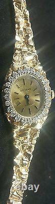 Gold Nugget Watch 14k Geneve Womens Solid Real Diamonds Wrist Vintage Repair