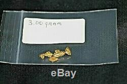 Gold Nuggets 3.00 Gram, Alaskan Natural Placer # 6, Hi Purity, Low Shipping
