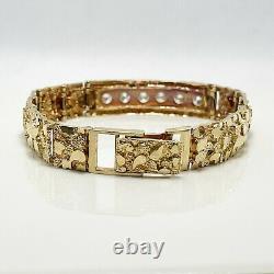 Handsome 2ctw. Natural Diamond 14k Gold Nugget Bracelet (9644)