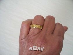 Heavy 14K Yellow Gold & Natural Alaskan Gold Nuggets Mens Ring Band Size 11