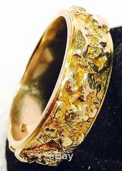 828203c712135 Heavy 14k Yellow Gold & Natural Gold Nugget Mens Wedding Band, Ring ...