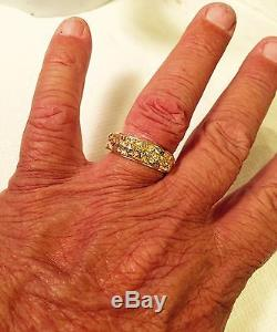Heavy 14K Yellow Gold & Natural Gold Nugget Mens Wedding Band, Ring Size 11.75+