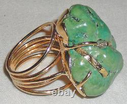 Huge turquoise nugget ring, Lone Mountain natural nugget, 14 Karat gold