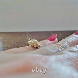 L@@K Vintage Unique Real 14K Yellow Gold Nugget Ring with Diamond size 3.75 pinky