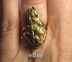 LARGE Alaskan-Yukon Natural Placer Gold Nugget Ring Size 6.5