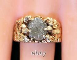 LQQK Natural RAW 6 Carat Solitaire Diamond Triangle Cut Wide Men's Ring 14k Gold