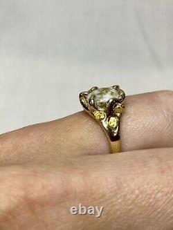Ladies Natural Gold In Quartz Custom Ring 14 Kt. With Nuggets RL660Q(B)