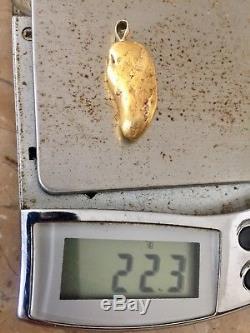 Large Natural Alaskan Placer Gold River Nugget Pendant 22.3 grams