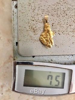 Large Natural Alaskan Placer Gold River Nugget Pendant 7.50 grams