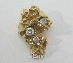 Large Natural Gold Nugget Specimen Necklace Pendant 4.5 grams diamonds. 25 TDW