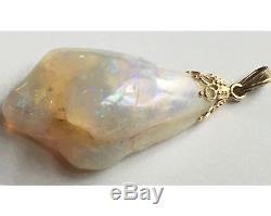 Large Natural Nugget Opal 10K Gold Pendant