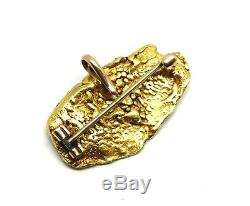 Large Scarce 23K NATURAL PURE SOLID GOLD NUGGET Brooch Pin Watch Fob Pendant
