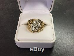 MEN'S 14 KT GOLD NUGGET RING WITH. 70 CARATS NATURAL DIAMONDS WithBOX SIZE 7.5