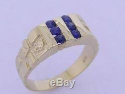 MR011 GENUINE 9K 9ct Yellow Gold MENS Natural Blue Sapphire NUGGET Ring size S