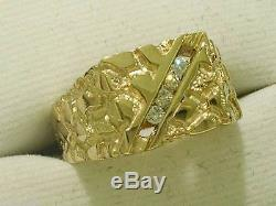 MR14- Genuine 9ct Yellow Gold NATURAL Diamond MENS Nugget Ring size 11