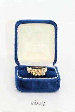 Magic Glo 14 kt Yellow Gold Nugget Ring with. 03 TCW Diamonds Size 9 with Box
