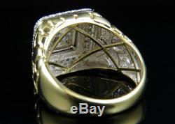 Men's 10K Yellow Gold Nugget Square Frame Genuine Diamond Engagement Ring 1.55CT