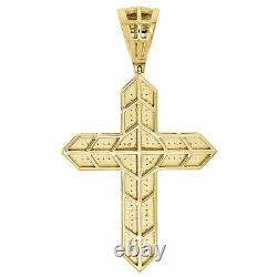 Men's 10k Yellow Gold Genuine Diamond 3D Nugget Cross Pendant 2.10 Charm 1/2 CT