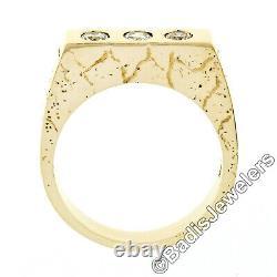 Men's 14K Gold 3 Stone Burnish Diamond Nugget Pattern High-Profile Band Ring