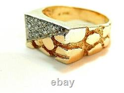 Men's 14k Solid Yellow Gold 11mm Nugget Style Diamond Cluster Ring Sz 11.5